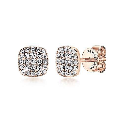 14k Rose Gold Silk Stud Earrings angle 1