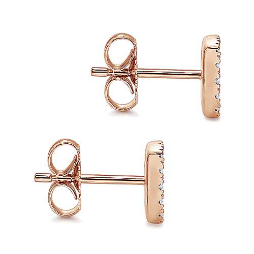 14k Rose Gold Silk Stud Earrings angle 3