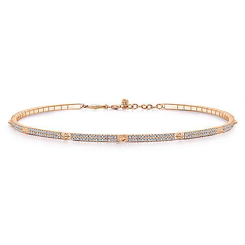 Gabriel - 14k Rose Gold Spiked Diamond Choker Necklace