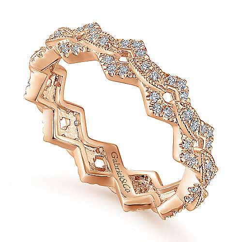 14k Rose Gold Stackable Eternity Stackable Ladies' Ring angle 3
