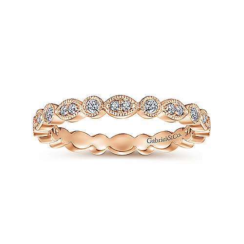 14k Rose Gold Stackable Eternity Stackable Ladies' Ring angle 4