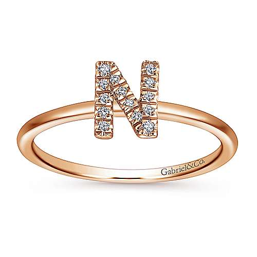 14k Rose Gold Stackable Initial Ladies' Ring angle 4