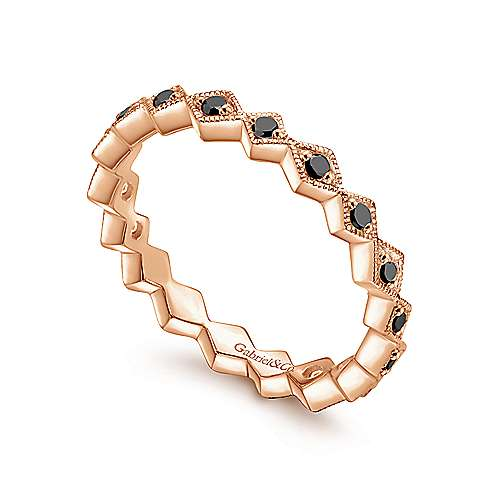 14k Rose Gold Stackable Ladies' Ring angle 3