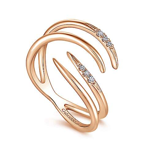 14k Rose Gold Trends Fashion Ladies' Ring angle 3