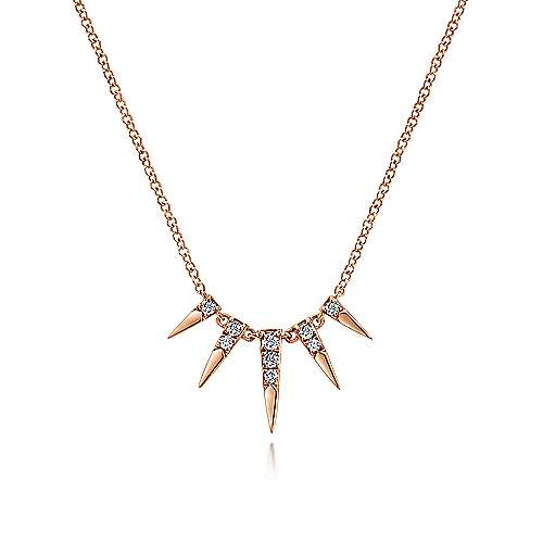 14k Rose Gold Trends Fashion Necklace angle 1