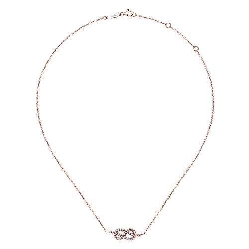 14k Rose Gold Twisted Diamond Knot Fashion Necklace
