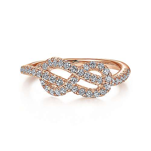 Gabriel - 14k Rose Gold Twisted Diamond Knot Ladies Ring
