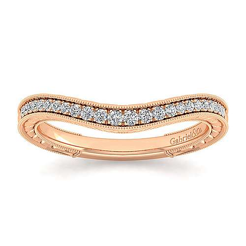 14k Rose Gold Victorian Curved Wedding Band angle 5