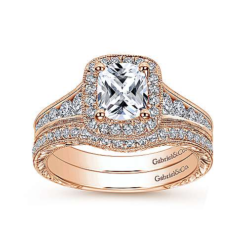 14k Rose Gold Victorian Curved Wedding Band angle 4