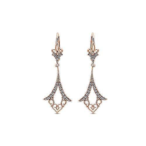 Gabriel - 14k Rose Gold Victorian Drop Earrings