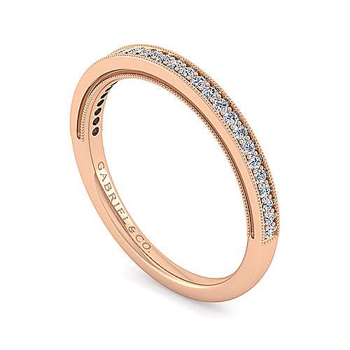 14k Rose Gold Victorian Straight Wedding Band angle 3