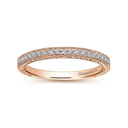 14k Rose Gold Victorian Straight Wedding Band angle 5