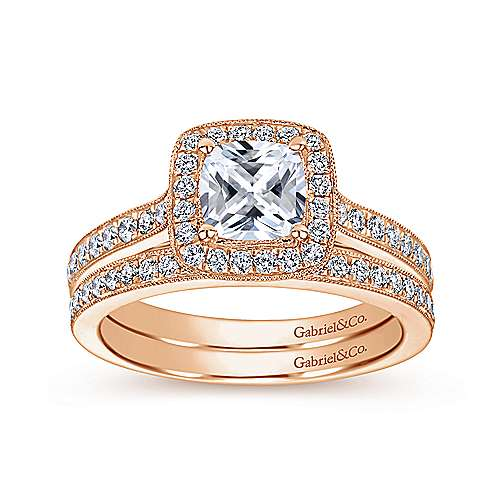 14k Rose Gold Victorian Straight Wedding Band angle 4