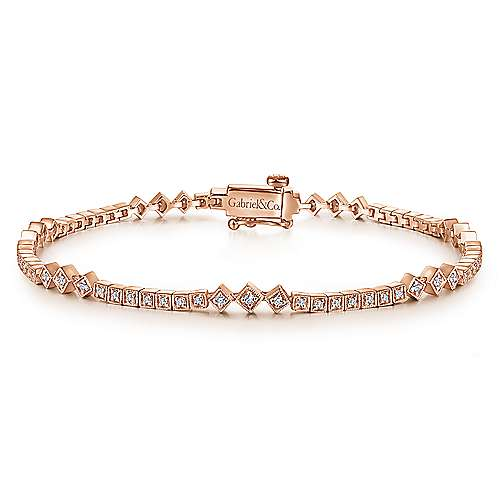 Gabriel - 14k Rose Gold Victorian Tennis Bracelet