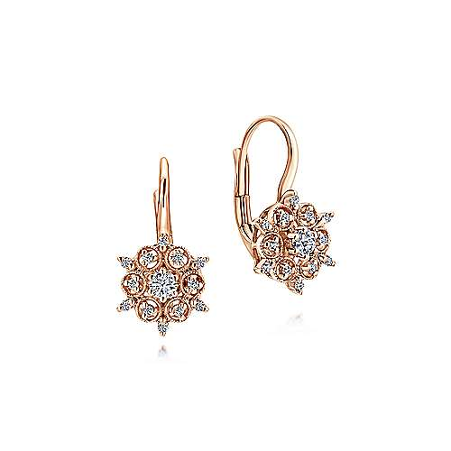 14k Rose Gold Vintage Inspired Diamond Drop Earrings