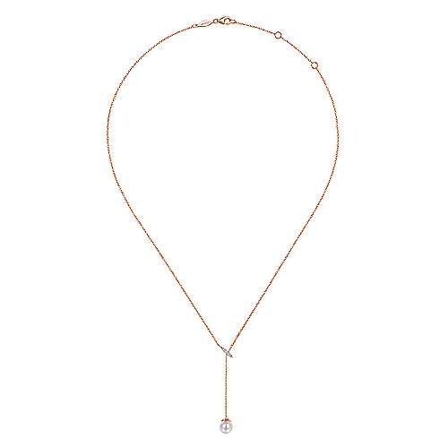 14k Rose Gold Y Knots Cultured Pearl & Diamond Necklace