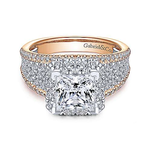 14k Rose/White Gold Princess Cut Halo Diamond Engagement Ring