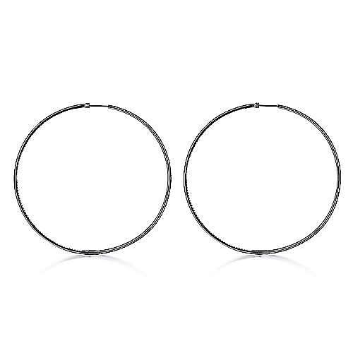 14k W W And Black Rhodium Hoops Classic Hoop Earrings angle 2