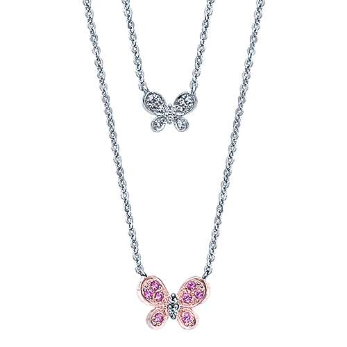 14k White And Rose Gold Butterfly Necklace angle 1