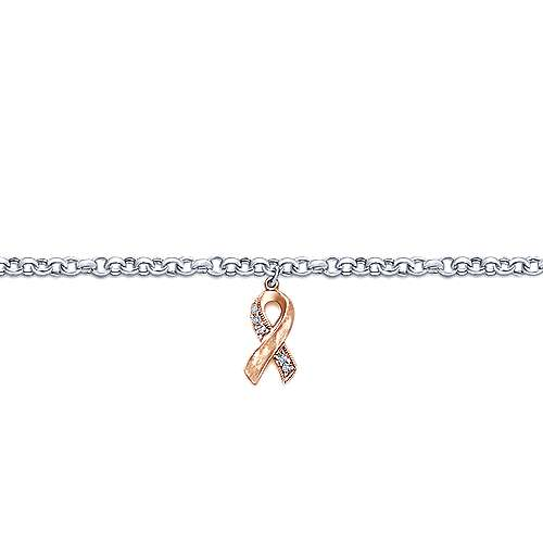 14k White And Rose Gold Care Collection Charm Bracelet angle 2