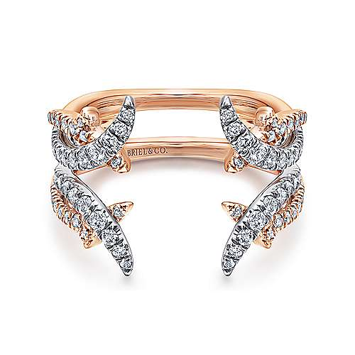 Gabriel - 14k White And Rose Gold Contemporary Enhancer Anniversary Band