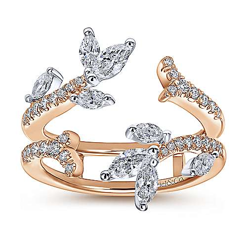 14k White And Rose Gold Contemporary Enhancer Anniversary Band angle 5
