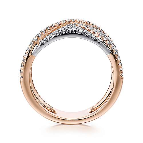 14k White And Rose Gold Contemporary Fancy Anniversary Band angle 2