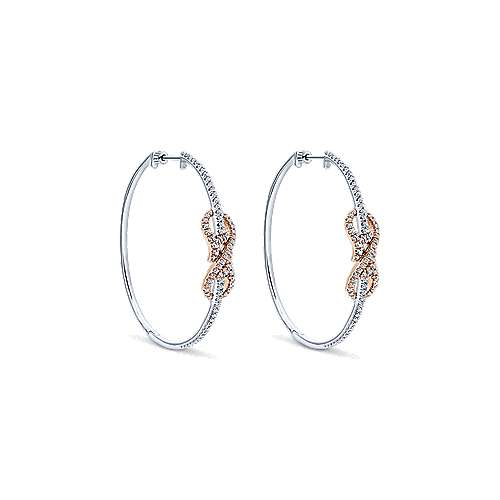 Gabriel - 14k White And Rose Gold Contemporary Intricate Hoop Earrings