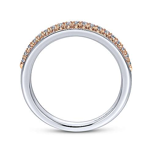 14k White And Rose Gold Contemporary Straight Wedding Band angle 2