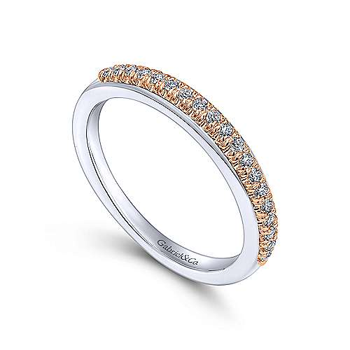 14k White And Rose Gold Contemporary Straight Wedding Band angle 3