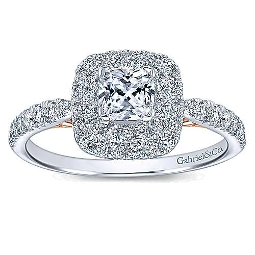 14k White And Rose Gold Cushion Cut Double Halo Engagement Ring angle 5