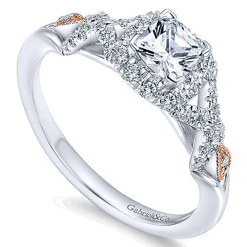 14k White And Rose Gold Cushion Cut Halo Engagement Ring angle 3