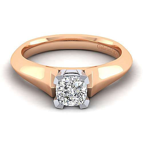 14k White And Rose Gold Cushion Cut Solitaire Engagement Ring