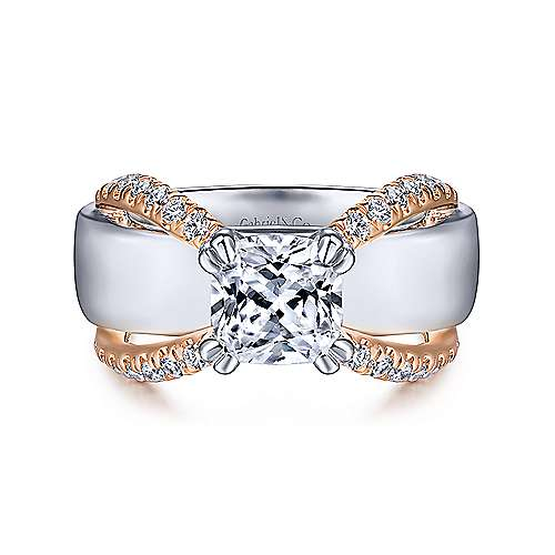 Gabriel - 14k White And Rose Gold Cushion Cut Straight Engagement Ring