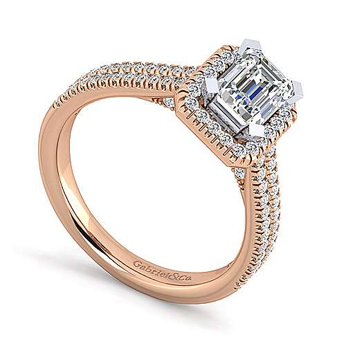 14k White And Rose Gold Emerald Cut Halo Engagement Ring angle 3