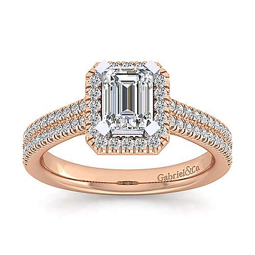14k White And Rose Gold Emerald Cut Halo Engagement Ring angle 5
