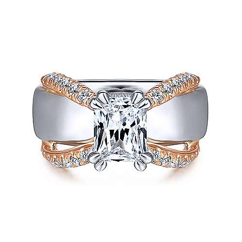Gabriel - 14k White And Rose Gold Emerald Cut Straight Engagement Ring