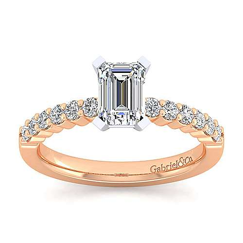 14k White And Rose Gold Emerald Cut Straight Engagement Ring angle 5