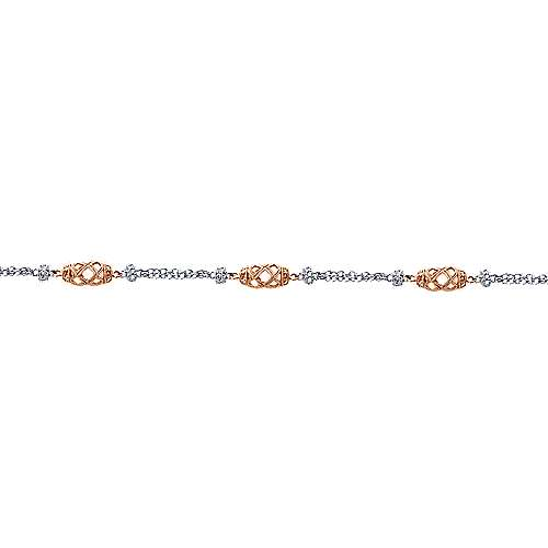 14k White And Rose Gold Endless Diamonds Chain Bracelet angle 2