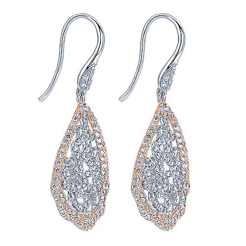 14k White And Rose Gold Flirtation Drop Earrings angle 2