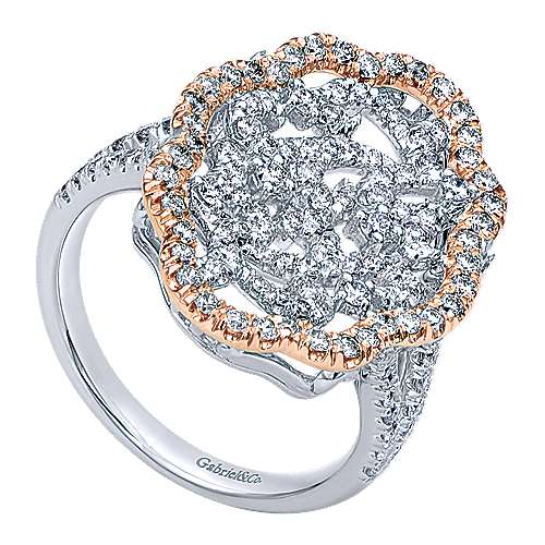 14k White And Rose Gold Flirtation Fashion Ladies' Ring angle 3