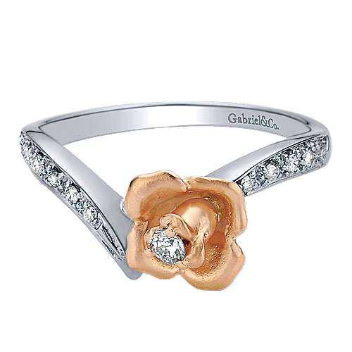 Gabriel - 14k White And Rose Gold Floral Fashion Ladies' Ring