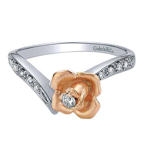 Gabriel - 14k White And Rose Gold Floral Fashion Ladies' Ring