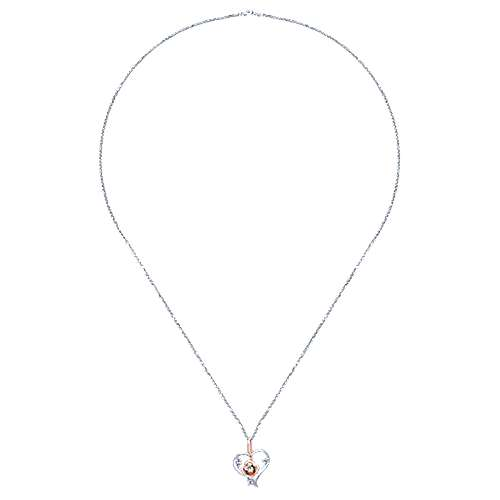 14k White And Rose Gold Floral Heart Necklace angle 2