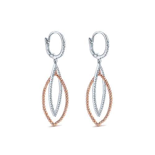 14k White And Rose Gold Hampton Drop Earrings angle 2