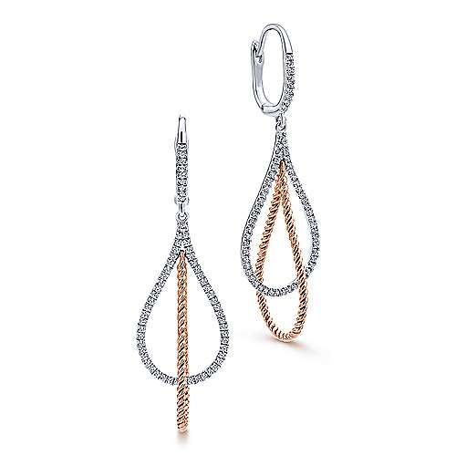 Gabriel - 14k White And Rose Gold Hampton Drop Earrings