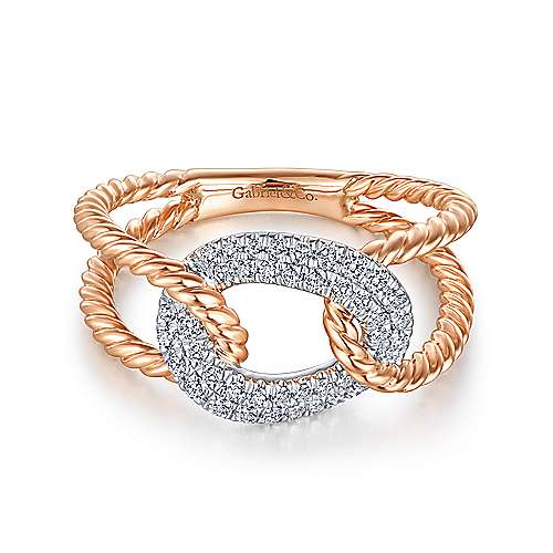 Gabriel - 14k White And Rose Gold Hampton Twisted Ladies Ring