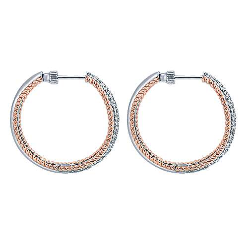 14k White And Rose Gold Hoops Classic Hoop Earrings angle 3