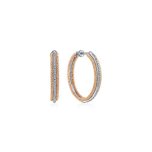 14k White And Rose Gold Hoops Classic Hoop Earrings angle 1