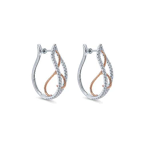 14k White And Rose Gold Hoops Intricate Hoop Earrings angle 1